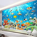 Papel tapiz mural autoadhesivo impermeable 3D mundo submarino peces foto pegatinas de pared dormitorio infantil acuario papel tapiz 3D 250x175cm