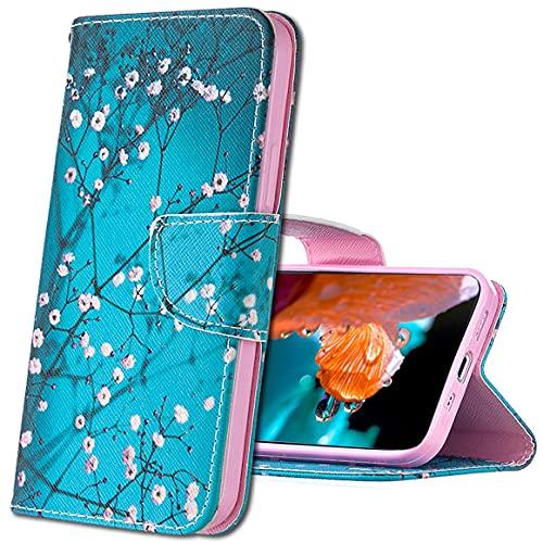 MRSTER Custodia per Huawei Y6 2018, Custodia in Pelle Honor 7A, Custodia Flip Premium Protettiva Portafoglio PU Pelle Case Cover per Huawei Y6 2018 / Honor 7A. BF Apricot Tree