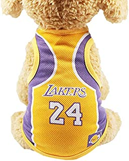 Dog Vest Basketball Jersey Cool Breathable Pet Cat Clothes Puppy Sportswear Spring/Summer Fashion Cotton Dog Shirt … (Lake...