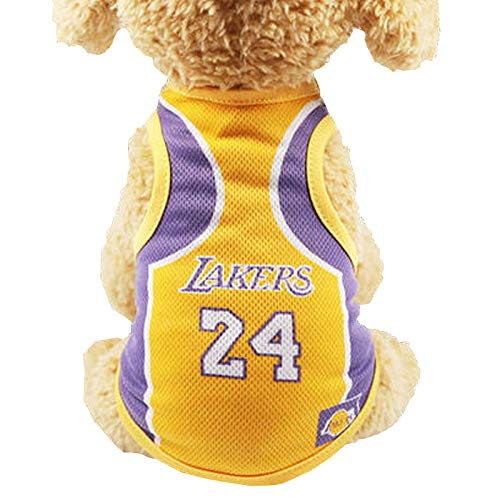 Dog Vest Basketball Jersey Cool Breathable Pet Cat Clothes Puppy Sportswear Spring/Summer Fashion Cotton Dog Shirt … (Lakers, S (2.5-3.5) lb)