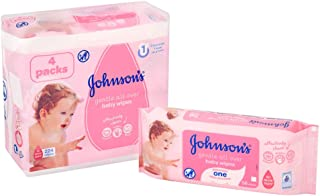 JOHNSON'S Baby Wipes, Gentle All Over, Hypoallergenic, 3 + 1 Packs of 56 wipes, 224 total count