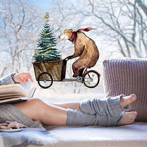 ilka parey wandtattoo-welt Fensterbild Bär auf Fahrrad mit Weihnachtsbaum -WIEDERVERWENDBAR- Fensterdeko Winterdeko Weihnachtsdeko Fensterbilder bf7