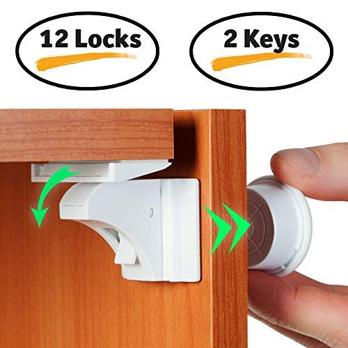 Hidden magnet catch for babies infants pet proof too Millennial Baby Baby proof magnetic cabinets locks- 8 kitchen cabinet drawers latches no screws without drilling 2 keys .Adhesive mag lock child proofing system