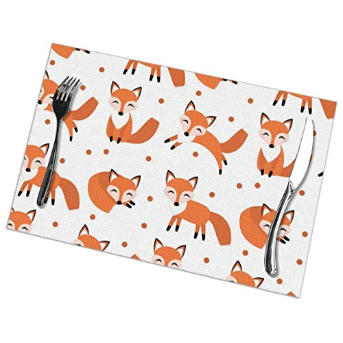 Cute Fox Pattern Heat Resistant Table Mats Set of 6 Non-Slip Washable Placemat for Holiday Dining Kitchen Decor Modern Art