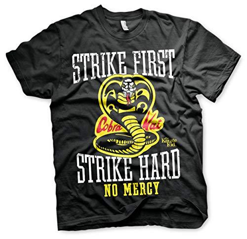 Karate Kid Offizielles Lizenzprodukt Cobra Kai No Mercy Herren T-Shirt (Schwarz), Large