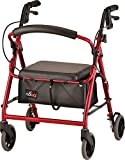 NOVA GetGo Junior Rollator Walker (Petite Size), Rolling Walker for Height 4'10' - 5'4', Seat Height is 18.5 Inch, Color Red