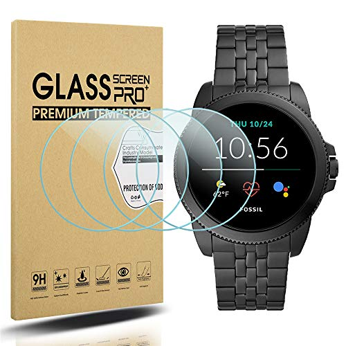 Suoman 3-Pack for New Fossil Men's Gen 5E 44mm Screen Protector, 2.5D 9H Hardness Tempered Glass Screen Protector for Fossil Men's Gen 5E 44mm Smartwatch