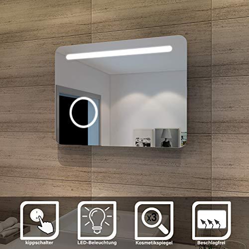 SONNI LED Bad Spiegel 80 x 60cm wandspiegel Badezimmer Lichtspiegel Badspiegel mit Beleuchtung mit Kosmetikspiegel, Kippschalter