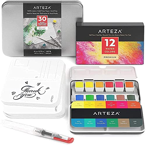 Arteza Watercolor Paint Set and Watercolor Postcards Bundle, Drawing Art Supplies for Artist, Hobby Painters & Beginners