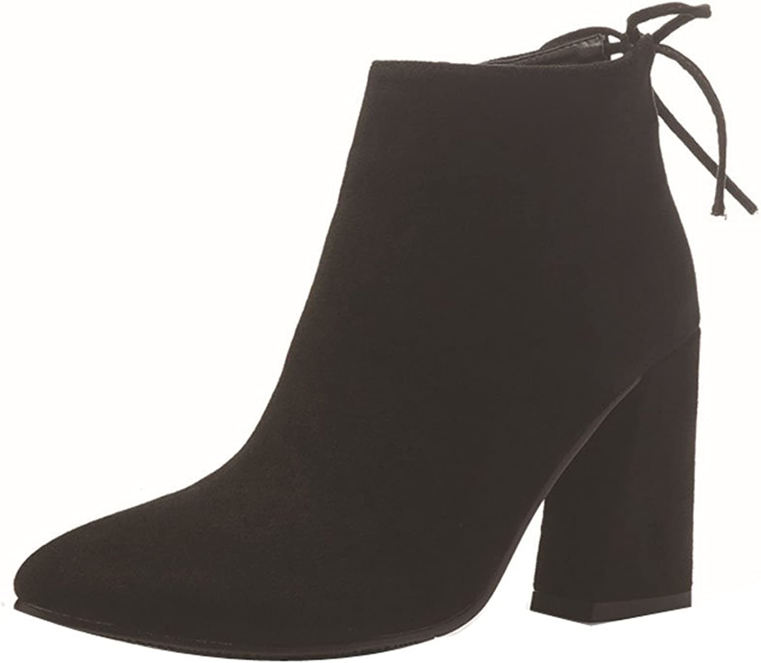 Ladola Womens Pointed-Toe Zip Low-Top High-Heels Suede Boots