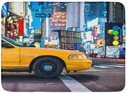 Paillassons Tapis de bain Tapis de porte extérieur / intérieur Taxi Yellow Cabs à Manhattan NYC Les taxis de New York City Night Street Street Décor de salle de bain Tapis de bain Tapis de bain