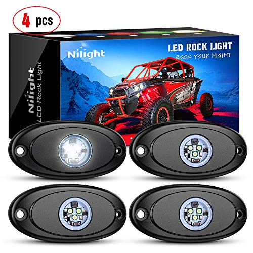 Nilight LED Rock Light 4PCS White Light Pods Waterproof Under Body Wheel Well Light Exterior Interior Lights for Car Truck Pickups ATV UTV SUV Motorcycle Boat, 2 Years Warranty