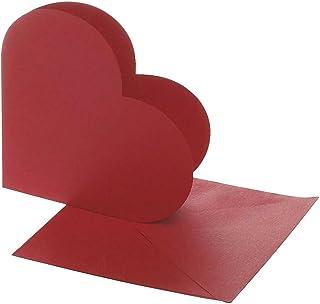 Tarjetas en forma de corazón, tamaño de la tarjeta 12,5x12,5 cm, tamaño sobre 13,5x13,5 cm, rojo, 10sets