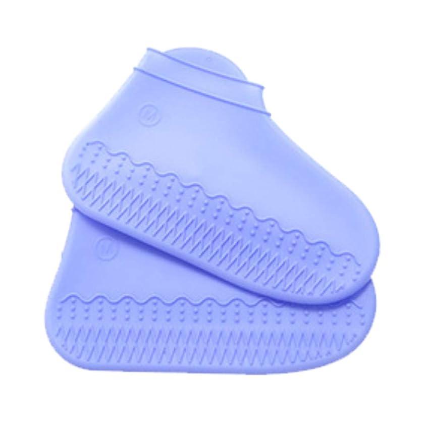 ドローフルーツ野菜軽蔑するシリコン防水靴カバー、シリコンレインブーツ防雨スーツ透明滑り止めブーツセット厚家 (S, 空色)