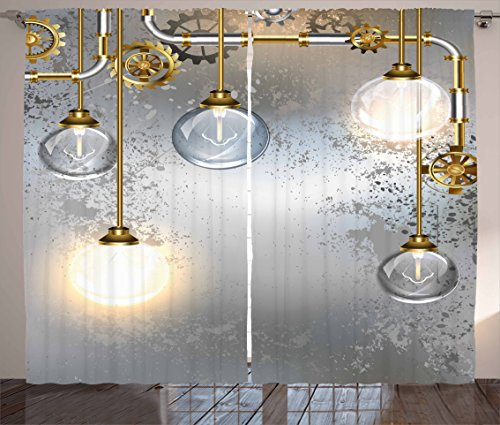Ambesonne Industrial Curtains, Steampunk Style Antique Composition Brass Fastening Round Print, Living Room Bedroom Window Drapes 2 Panel Set, 108' X 63', Gold Grey