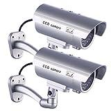 2 x Cámara Falsa Dummy Cámara idaodan Cámara CCTV Seguridad supervisión de Agua Densidad con Blink endem Luz Roja...