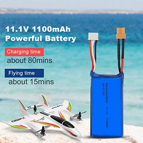 Benkeg Batería de Litio para Aviones RC 11.1V 1100mAh 20C Batería de Litio para ala Fija XK X450 RC
