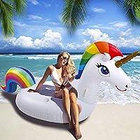 ღSTYLE NOBLE:La bouée de licorne a l'aspect d'une licorne, de couleurs riches et lumineuses qui feront de vous le point focal de toute fête. ღMATÉRIAUX DE HAUTE QUALITÉ: Fabriqué en PVC, durable et résistant,non-toxiques confortable, respectueux de l...