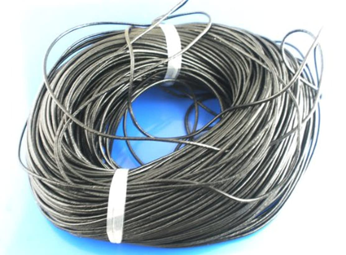 PEPPERLONELY Brand 10 Yard 2mm Genuine Black Round Leather Cords For Bracelet Necklace Beading Jewelry Making