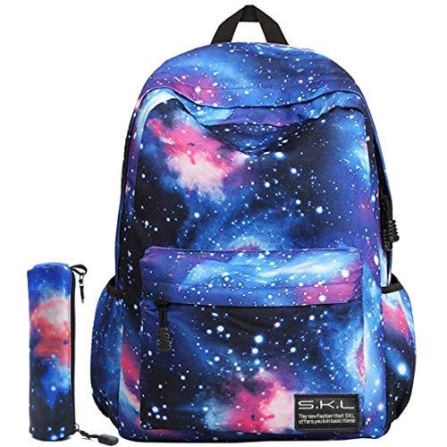 SKL Schulrucksack Galaxy Schultasche Student Stilvoll Unisex Canvas Laptop Buch Tasche Rucksack Daypack für Teenager Jungen und Mädchen (Blau mit Bleistifttasche)