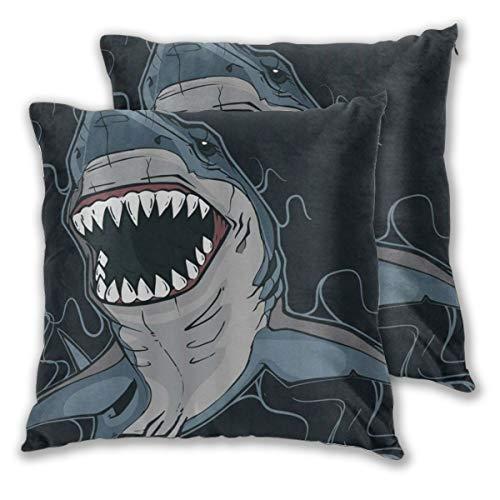 DECISAIYA Fundas de Cojines,Océano Animal Dibujos Animados Guay Azul Oscuro Negro,Poliéste Funda de Almohada Cuadrado para Sofá Cama Decoración para Hogar,Set de 2,60x60cm