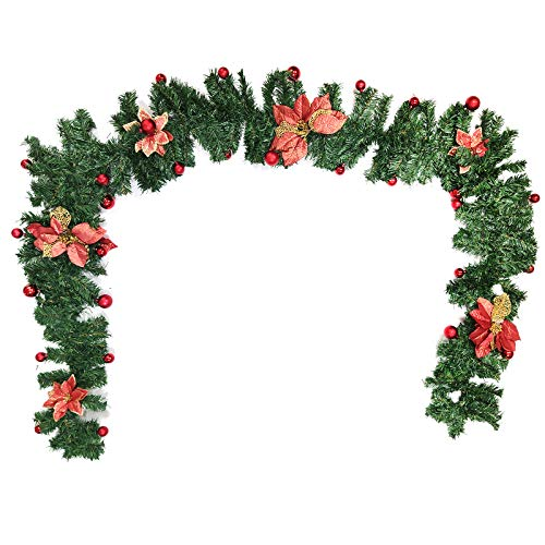 TAECOOOL Guirnalda de Navidad, guirnaldas navideñas para escaleras de 2,7 m de puerta delantera y chimeneas, verde (rojo)