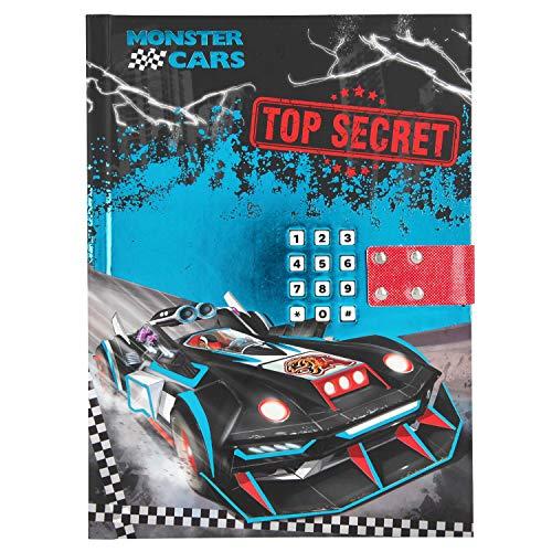 Depesche 10949 Tagebuch mit Code und Sound, Monster Cars, blau, ca. 20,5 x 15 x 3 cm