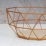 levandeo Korb Metall Kupfer 26x12cm Obstkorb Modern Holz MDF Braun Schüssel Schale Deko Design Tischdeko - 4