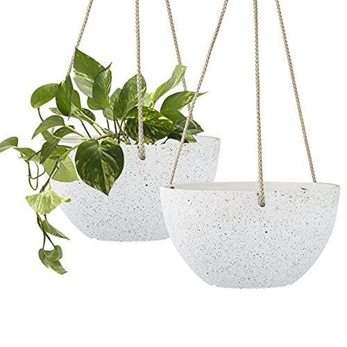 Speckled White Hanging Planter - 8 Inch Indoor Outdoor Hanging Plant Pot Basket,...