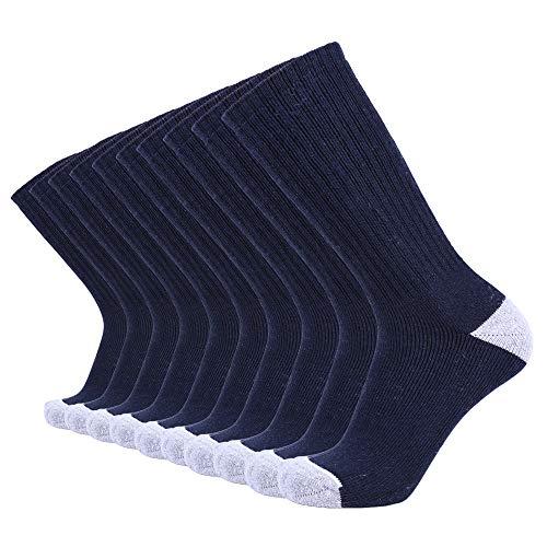 Enerwear 10P Pack Men's Cotton Moisture Wicking Heavy Cushion Crew Socks (10-13/shoe size 6-12 (10 Pair), Navy Blue)