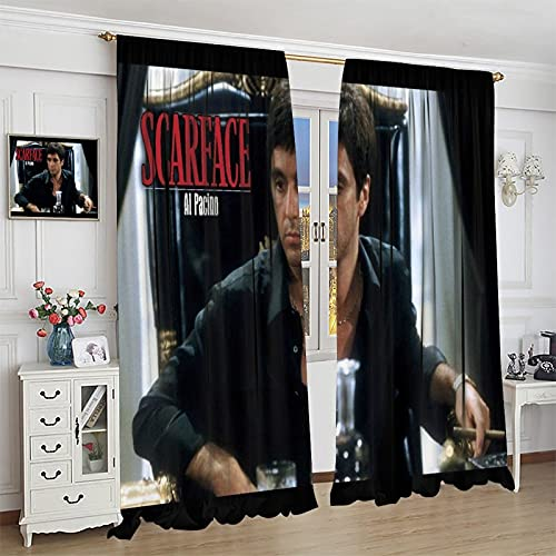 VICWOWONE Thermal Insulated Printed Curtain Scarface Super Soft Kids Bedroom Curtain 55x63inch(140x160cm)