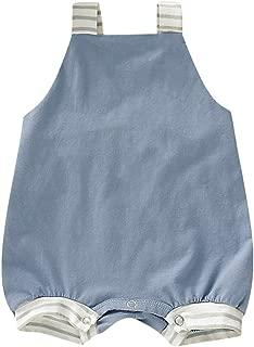 Newborn Baby Boys Girls Striped Straps Overall Shorts Cross Back Sleeveless Romper Bodysuit