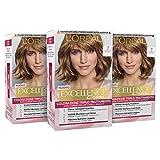 L'Oréal Paris Tinta Capelli Excellence, Copre Il 100% dei Capelli Bianchi, a Lunga Durata, 7 Biondo, Confezione da 3