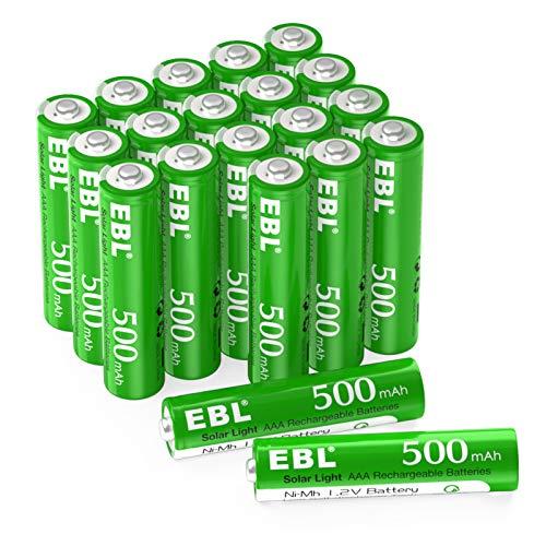 EBL AAA Akku 20 Stück für Solarlampe - Solarakku AAA 500mAh, Wiederaufladbar, 1200mal Ladezyklens mit Gering Selbstentladung