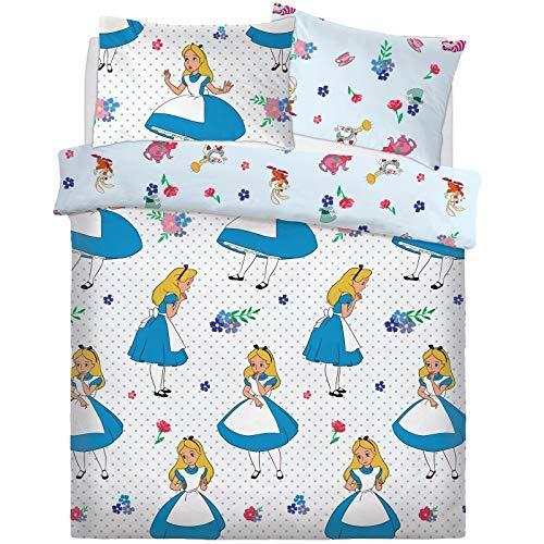 Disney Alice in Wonderland Falling Cartoon Character Duvet Set Bed Quilt Cover Pillowcase Reversible Bedding[Double]