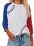 Raglan Shirts Baseball Tee Women Round Neck T-Shirt 3/4 Sleeve Tops Patchwork Print Blouse White