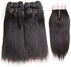 Peenoll Brazilian Bob Wigs Sewn Hair Bundles with Closure Straight Virgin Human Hair Weave Sew in Hair Weave with Closure 230g(8 8 8 8 with 8)
