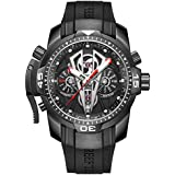 Reef Tiger Mens Sport Mechanical Watches with Rose Gold Black Dial Automatic Watch Calfskin Rubber Strap RGA3591 (RGA3591-BBBR)