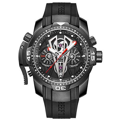 Reef Tiger relógios mecânicos masculinos esportivos com mostrador preto de ouro rosa, relógio automático, pulseira de borracha de couro de bezerro RGA3591, RGA3591-BBBR