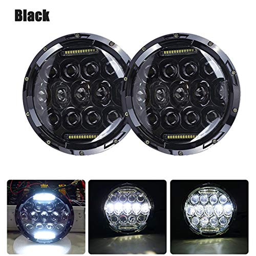 YZHUA 2pcs Ajuste para Jeep JK LADA NIVA 4x4 7 pulgadas H4 LED Faros del LED con la señal de la señal de la señal de la señal de la señal del ojo de ángulo Ajuste de la motocicleta para Suzuki Samurai