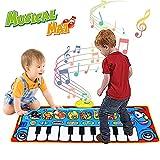 Alfombrilla de piano para niños, alfombrilla musical para teclado de suelo,música electrónica multifunción con 8 instrumentos,regalos de cumpleaños de Navidad para bebés,niños y niñas de 1 a 7 años