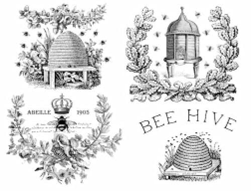 Image Transfers for Furniture Redesign - French Decals for Furniture - Rub On Transfers for Furniture French Country Vintage - Bee Hive Honey Bees Labels French Furniture Decals - 4 Sheets Image