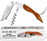 Wine Opener & Waiters Corkscrew (Rosewood) by Bar Brat / Stronger Than Other Wine Openers & Corkscrews/Only Corkscrew You'll Ever Use/Wine Foil Cutter included