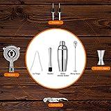 Hochwertiges Cocktailshaker Set, Cocktailmixer Set, 10 Teileig, aus Edelstahl, mit Bambus-Aufbewahrung, inkl. Cocktail-Shaker, Messbecher, Ausgießer, Bar Stößel, Bar Löffel, Eiszange, Öffner, Barmaß - 4