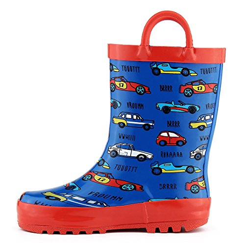 Western Chief Boy's Waterproof Printed Rain Boot, Vintage Tractor, 7-8 M US Toddler