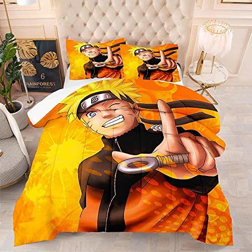 KIrSv Naruto 3D Animation Juego de Cama con Funda nórdica,Suave y cómoda Cama Doble tamaño King para niños,niñas,Cama Doble,Funda nórdica Bedding-6_210x210cm(3pcs)