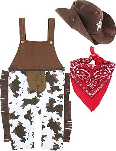 MOMBEBE COSLAND Mono Bebé Niño Disfraz Vaquero Tirantes Algodón (Cowboy, 6-12 Meses)