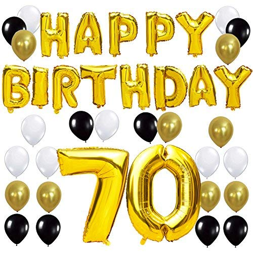 KUNGYO Letras Tipo Balón Doradas Happy Birthday+Número 70 Mylar Foil Globo+24 Piezas Negro Oro Blanco Globo de Látex 70 Años de Antigüedad Fiesta de Cumpleaños Decoraciones