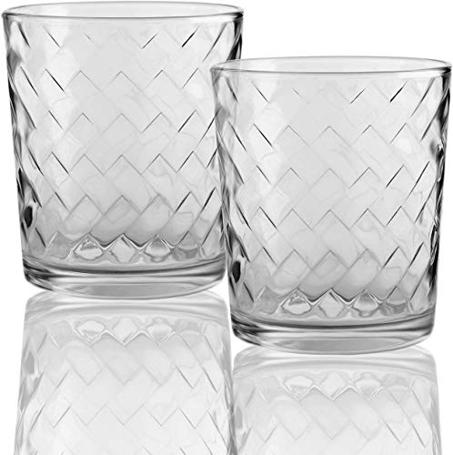 Circleware Chevron Set of 4 Whiskey Drinking Glasses Glassware for Water, Beer and Bar Liquor Dining Decor Beverage Cups Gifts, 12.5 oz