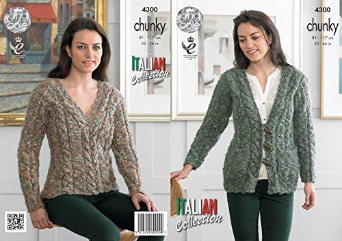 Koning Cole dames breien patroon Womens kabel gebreide trui & vest Verona Chunky (4300)